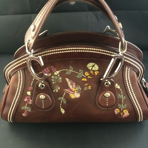 Dior Bags   Vintage Flowers Tote Burgundy Leather Satchel   Poshmark 663e33169e